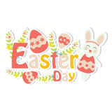 Vector cartoon of cute bunny, flowers and colorful egg Royalty Free Stock Image