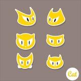 Vector cartoon cute cats set Stock Photography
