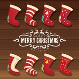 Vector cartoon cute christmas stocking or socks with color ornament. Merry Christmas vector greeting card. Or background with calligraphic text on old vintage Royalty Free Stock Photos