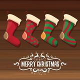 Vector cartoon cute christmas stocking or socks with color ornament. Merry Christmas vector greeting card Stock Image