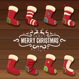 Vector cartoon cute christmas stocking or socks with color ornament.  Stock Images