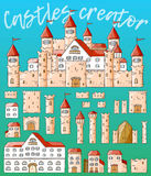 Vector cartoon cute creator castles. Set of architecture. Vector cartoon cute creator castles. Set of medieval architecture Stock Images