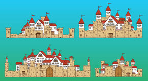 Vector cartoon cute creator castles. Set of medieval architecture. Vector cartoon cute creator castles. Set of medieval architecture with houses, towers, fences Royalty Free Stock Images