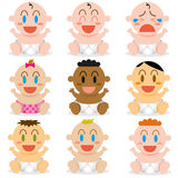 A Vector Cartoon Cute different Babies Set Stock Image