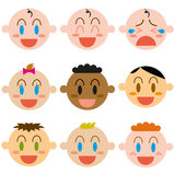 A Vector Cartoon Cute different Babies Set Stock Images