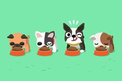 Vector cartoon cute dogs with food bowls. For design Royalty Free Stock Images