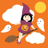 Vector cartoon of cute girl as witch and cute ghost Royalty Free Stock Photos