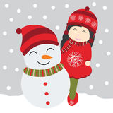Vector cartoon of cute girl and snowman on snow fall background Royalty Free Stock Photography