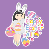Vector cartoon of cute girl wear bunny custom and colorful egg. For Easter postcard, greeting card, and wallpaper Stock Image
