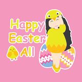 Vector cartoon of cute girl wear chick custom and colorful egg. For Easter postcard, greeting card, and wallpaper Stock Photography