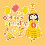 Vector cartoon of cute girl wear orange gown and birthday hat Stock Photos