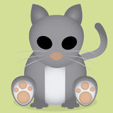 Vector Cartoon Cute Gray Cat Sitting Isolated Royalty Free Stock Image