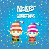 Vector cartoon cute happy Christmas elf Stock Photo