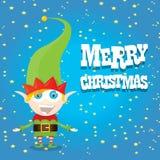 Vector cartoon cute happy Christmas elf Royalty Free Stock Image