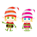 Vector cartoon cute happy Christmas elf Stock Images