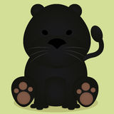 Vector Cartoon Cute Little Black Panther Sitting Isolated Royalty Free Stock Images