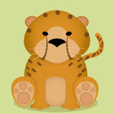 Vector Cartoon Cute Little Cheetah Sitting Isolated Royalty Free Stock Photos