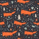 Vector cartoon cute little foxes forest pattern. Vector cartoon cute little foxes woodland pattern. It may be used for greeting card, wall art, phone case, t royalty free stock image