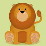 Vector Cartoon Cute Little Lion Sitting Isolated Royalty Free Stock Photo