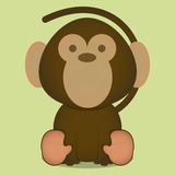 Vector Cartoon Cute Little Monkey Sitting Isolated Royalty Free Stock Photo