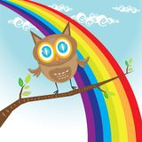 Vector cartoon cute little owl bird on tree branch Stock Image