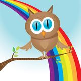 Vector cartoon cute little owl bird on tree branch Stock Photos