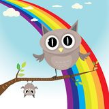Vector cartoon cute little owl bird on tree branch Royalty Free Stock Photo