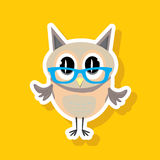 Vector cartoon cute little owl Stock Photos
