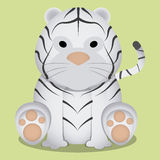 Vector Cartoon Cute Little White Tiger Sitting Isolated Royalty Free Stock Photo