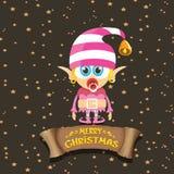 Vector cartoon cute merry Christmas elf girl Royalty Free Stock Photography