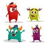 Vector cartoon cute cheerful monster set. Vector cartoon cute monster set. Funny fantastic creatures with angry happy surprised emotions. Spooky alien colorful Stock Images