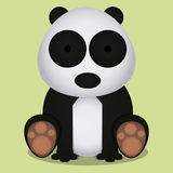 Vector Cartoon Cute Panda Bear Sitting Isolated Stock Photography