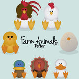 Vector Cartoon Cute Set Of Differents Domestic Birds Royalty Free Stock Image