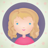 Vector cartoon cute smiling little girl icon Stock Photography