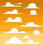 Vector cartoon dark afternoon morning sky flat cloud template illustration drawing. For background element Royalty Free Stock Image