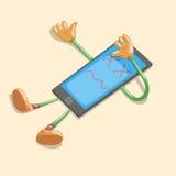 Vector cartoon dead phone. Broken phone. Sick phone Stock Photos