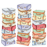 Vector cartoon decorative stack of old retro suitcases. Hand drawn set of decorative suitcases. Doodle illustration Royalty Free Stock Photos