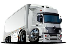 Vector cartoon delivery / cargo semi-truck Stock Image