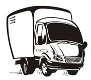 Vector Cartoon delivery / cargo truck Stock Photos