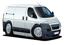 Vector cartoon delivery / cargo van Royalty Free Stock Image