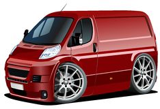 Vector cartoon delivery / cargo van Royalty Free Stock Photos