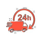 Vector cartoon delivery truck 24h icon in comic style. 24 hours. Fast delivery service shipping sign illustration pictogram. Car van business splash effect Stock Photos
