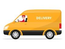 Vector cartoon delivery van truck with deliveryman Royalty Free Stock Image