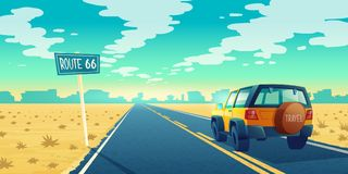 Vector Cartoon Desert Landscape With Road Royalty Free Stock Photos