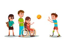 Vector cartoon disabled teen kids playing set. Vector cartoon disabled teen kids characters with restriction of movement playing using medical equipment set Stock Photo