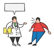 Vector cartoon doctor man holding folder and talking to his pati