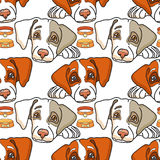 Vector cartoon dog on white. Seamless pattern. Stock Images