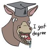 Vector cartoon donkey degree Royalty Free Stock Photography
