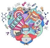Vector cartoon doodle illustration, Background, wallpaper, pattern, texture, backdrop, Geek nerd gamer Stock Image