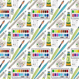 Vector cartoon doodles hand drawn art supplies seamless pattern.  school background Royalty Free Stock Photography